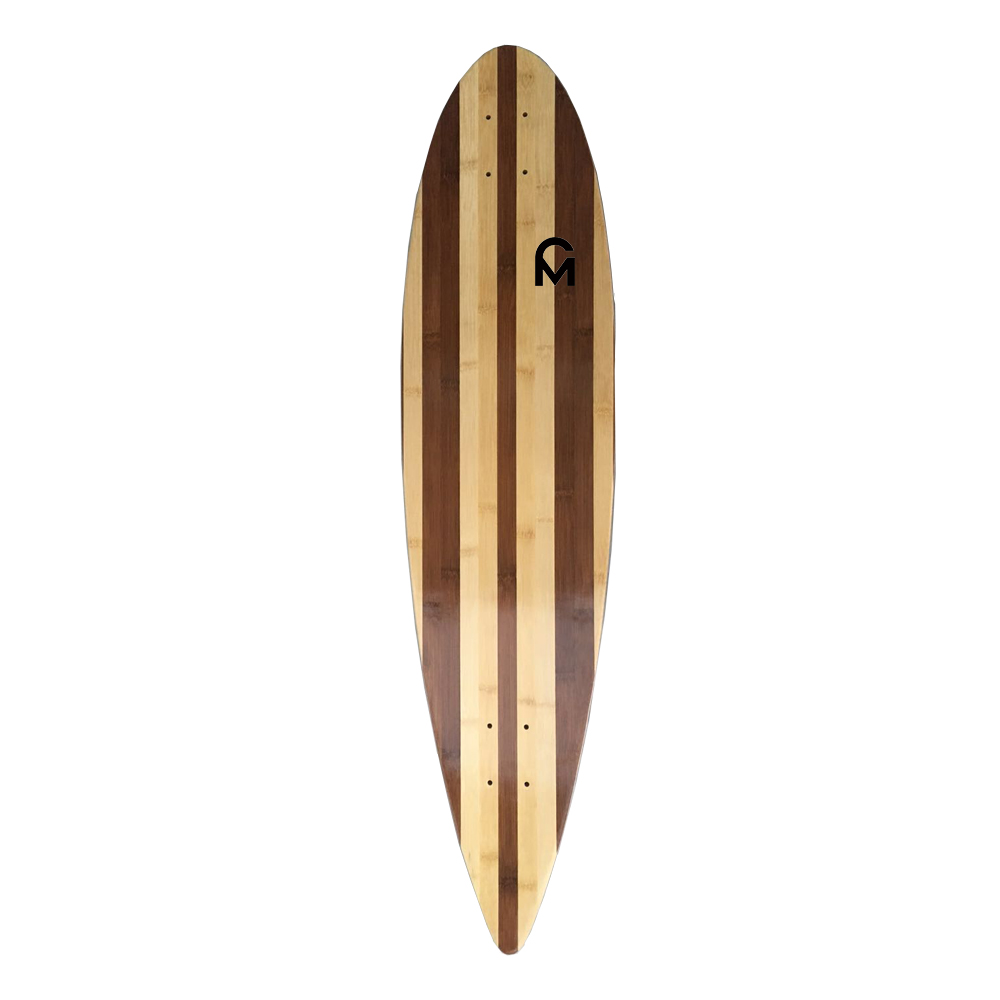Bamboo layer with nature stripe for longboard deck